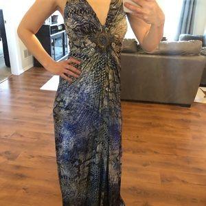 SKY Brand Snake Skin Pattern Blue Long Maxi Dress
